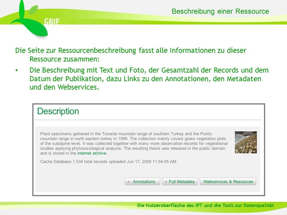 Beschreibung einer Ressource Die Seite zur Ressourcenbeschreibung fasst alle Informationen zu dieser Ressource zusammen: Die Beschreibung mit Text und