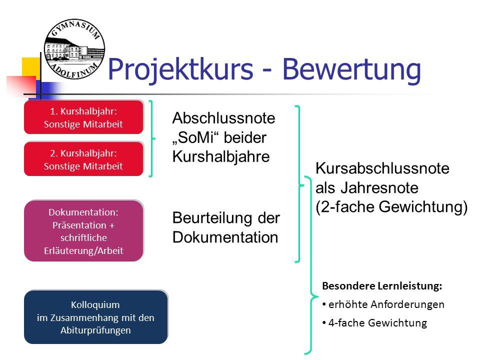 Projektkurs - Bewertung 1. Kurshalbjahr: Sonstige Mitarbeit 1.