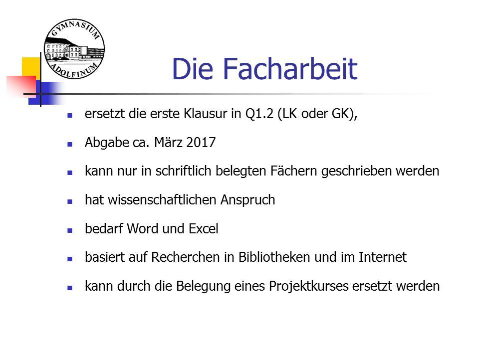 Die Facharbeit ersetzt die erste Klausur in Q1.2 (LK oder GK), Abgabe ca.