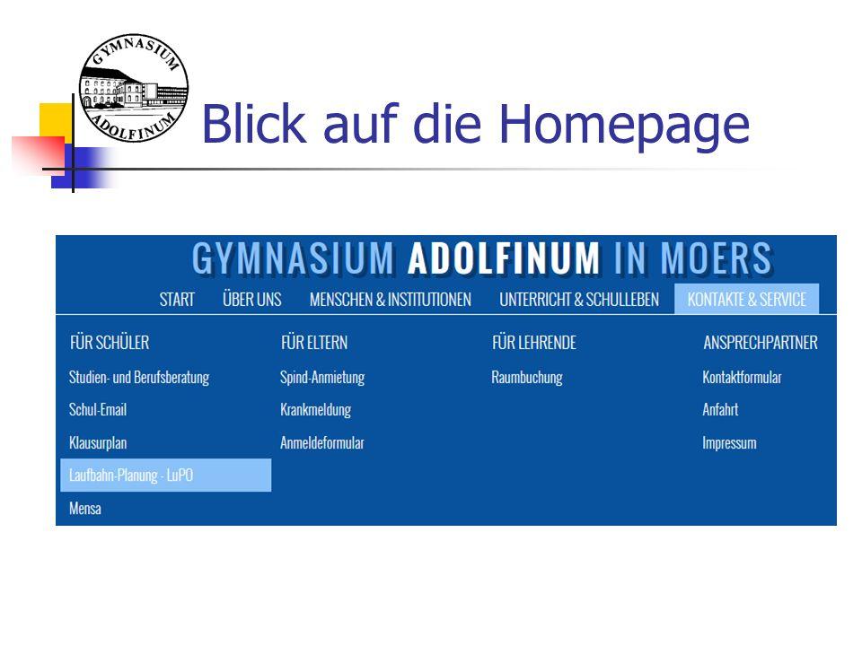 Blick auf die Homepage