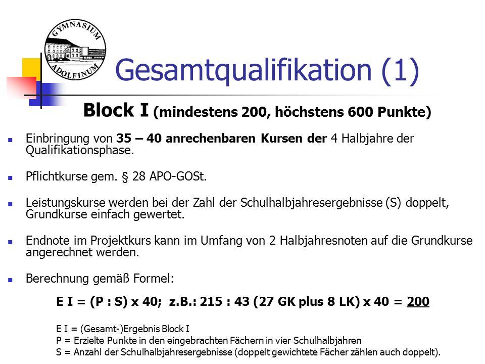 Gesamtqualifikation (1) Block I (mindestens 200, höchstens 600 Punkte) Einbringung von 35 – 40 anrechenbaren Kursen der 4 Halbjahre der Qualifikationsphase.