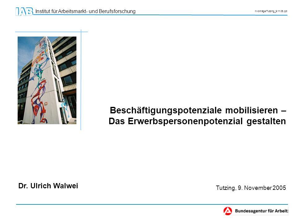 Institut für Arbeitsmarkt- und Berufsforschung h/vorträge/Tutzing_9.11.05.ppt Dr. Ulrich Walwei Beschäftigungspotenziale mobilisieren – Das Erwerbsper