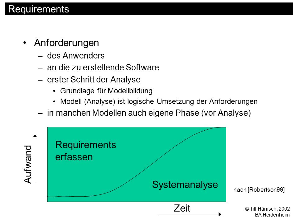 © Till Hänisch, 2002 BA Heidenheim Requirements Anforderungen –des Anwenders –an die zu erstellende Software –erster Schritt der Analyse Grundlage für