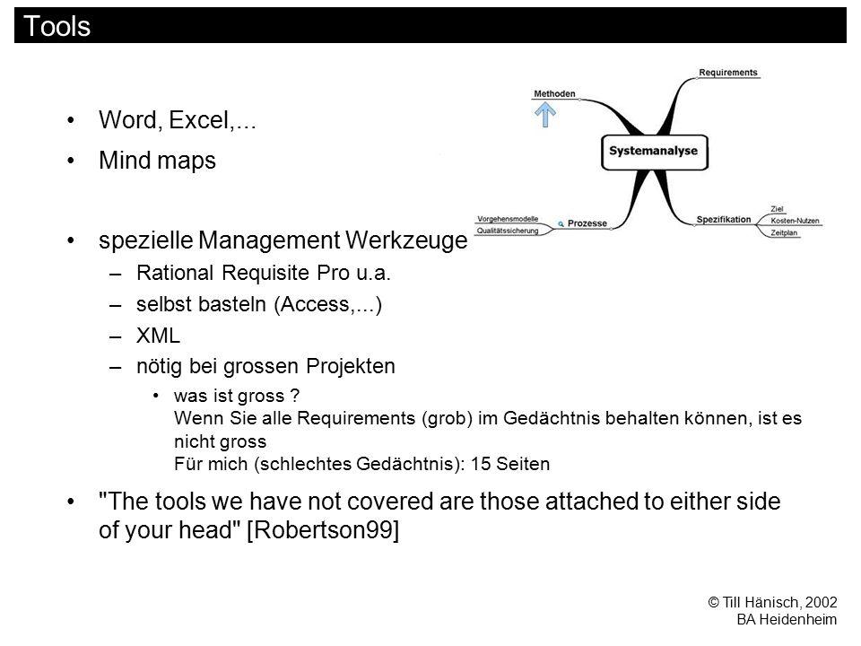 © Till Hänisch, 2002 BA Heidenheim Tools Word, Excel,... Mind maps spezielle Management Werkzeuge –Rational Requisite Pro u.a. –selbst basteln (Access