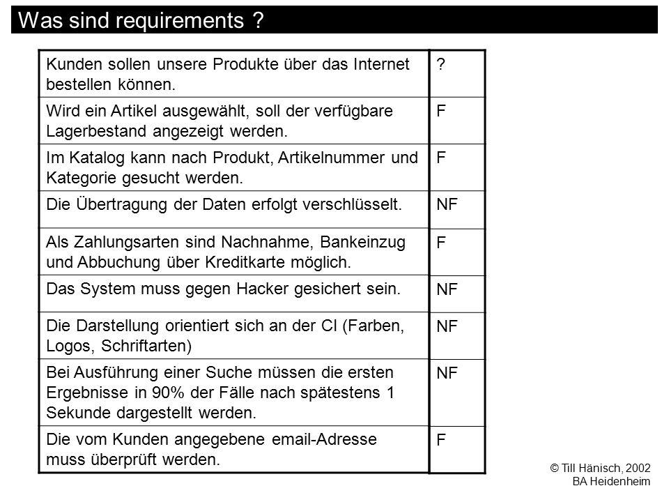 © Till Hänisch, 2002 BA Heidenheim Was sind requirements ? Kunden sollen unsere Produkte über das Internet bestellen können. Wird ein Artikel ausgewäh