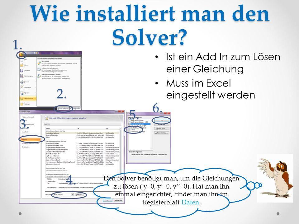 Wie installiert man den Solver? Ist ein Add In zum Lösen einer Gleichung Muss im Excel eingestellt werden Den Solver benötigt man, um die Gleichungen