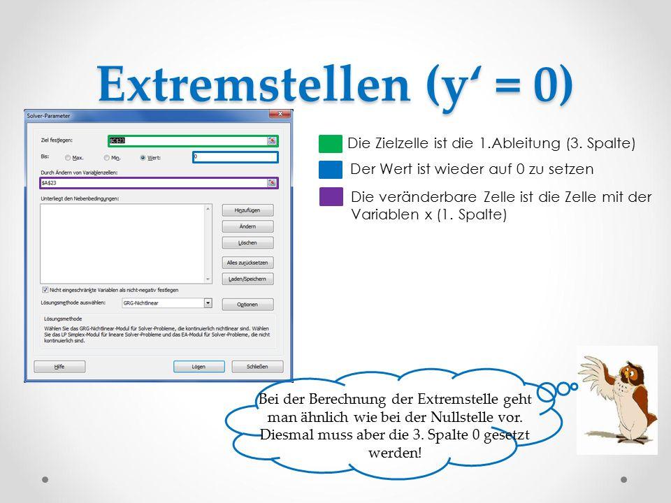 Extremstellen (y' = 0) Bei der Berechnung der Extremstelle geht man ähnlich wie bei der Nullstelle vor. Diesmal muss aber die 3. Spalte 0 gesetzt werd