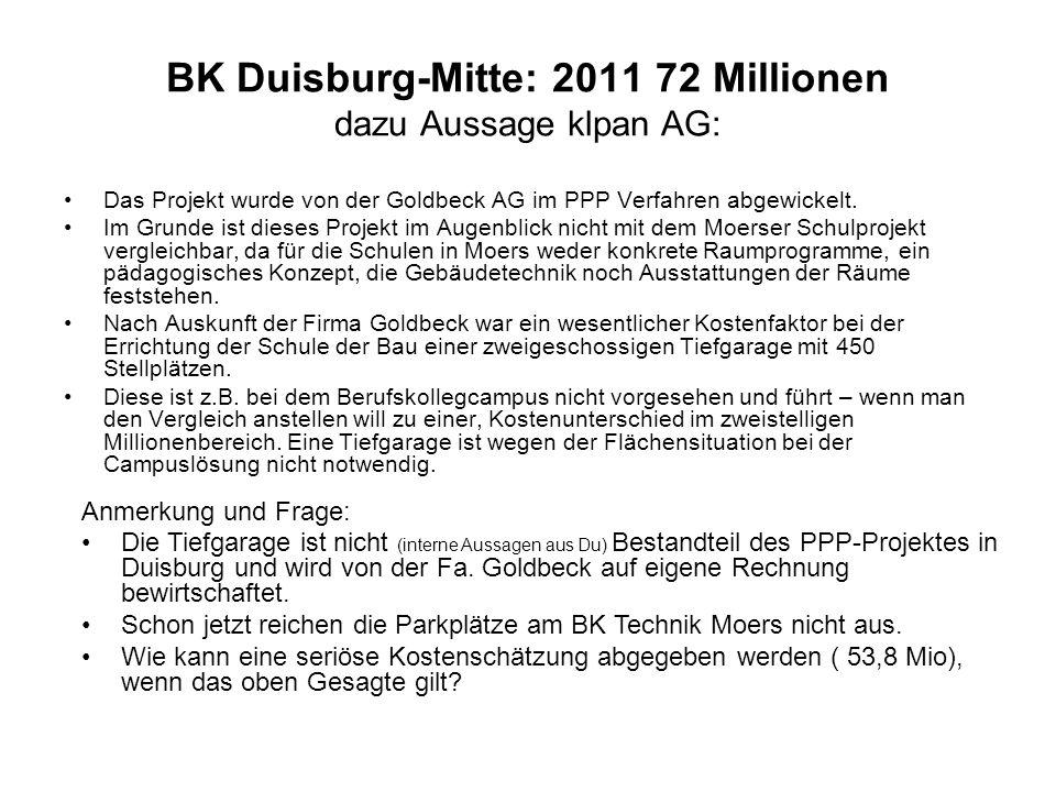 BK Duisburg-Mitte: 2011 72 Millionen dazu Aussage klpan AG: Das Projekt wurde von der Goldbeck AG im PPP Verfahren abgewickelt. Im Grunde ist dieses P