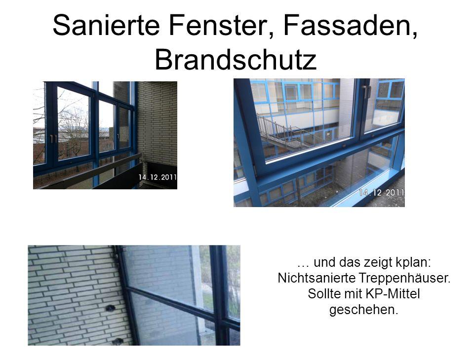 Sanierte Fenster, Fassaden, Brandschutz … und das zeigt kplan: Nichtsanierte Treppenhäuser. Sollte mit KP-Mittel geschehen.