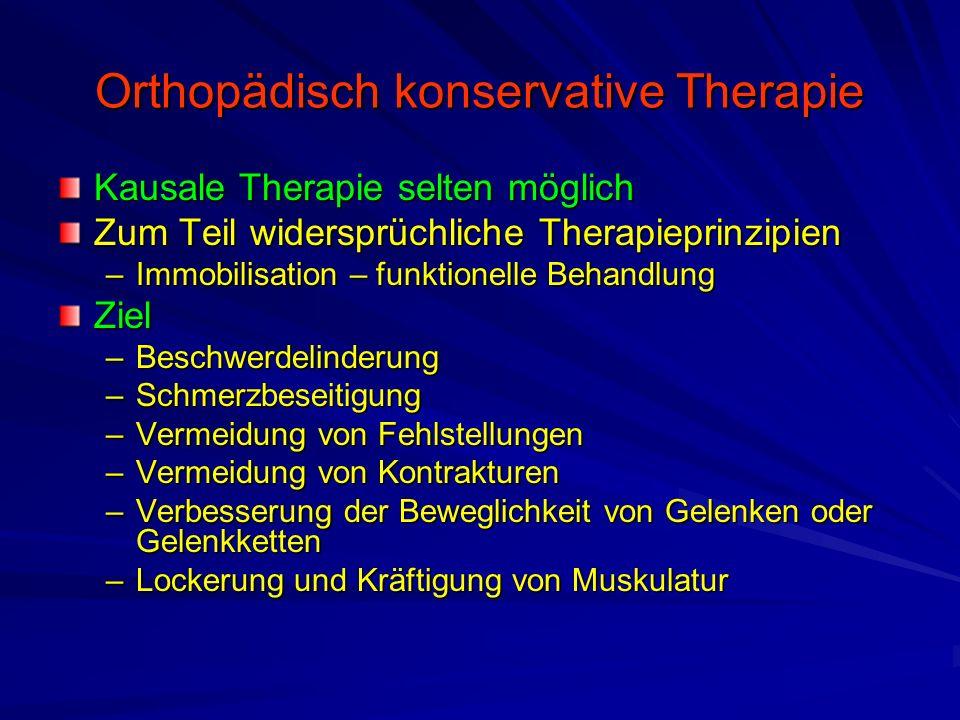 Arten der konservativen Therapie Lagerung –Immobilisation –Extensionen Physiotherapie –Krankengymnastik –Massage Physikalische Therapie –Kältebehandlung (Kryotherapie) –Wärmebehandlung –Elektrobehandlung –Ultraschall –Hydrotherapie ErgotherapieManualtherapie Medikamentöse Therapie –Schmerzmedikation –Injektions- und InfiltrationstherapieStrahlenbehandlung Technische Orthopädie –Orthetik –Prothetik Orthopädische Schuhversorgung Narkosemobilisation