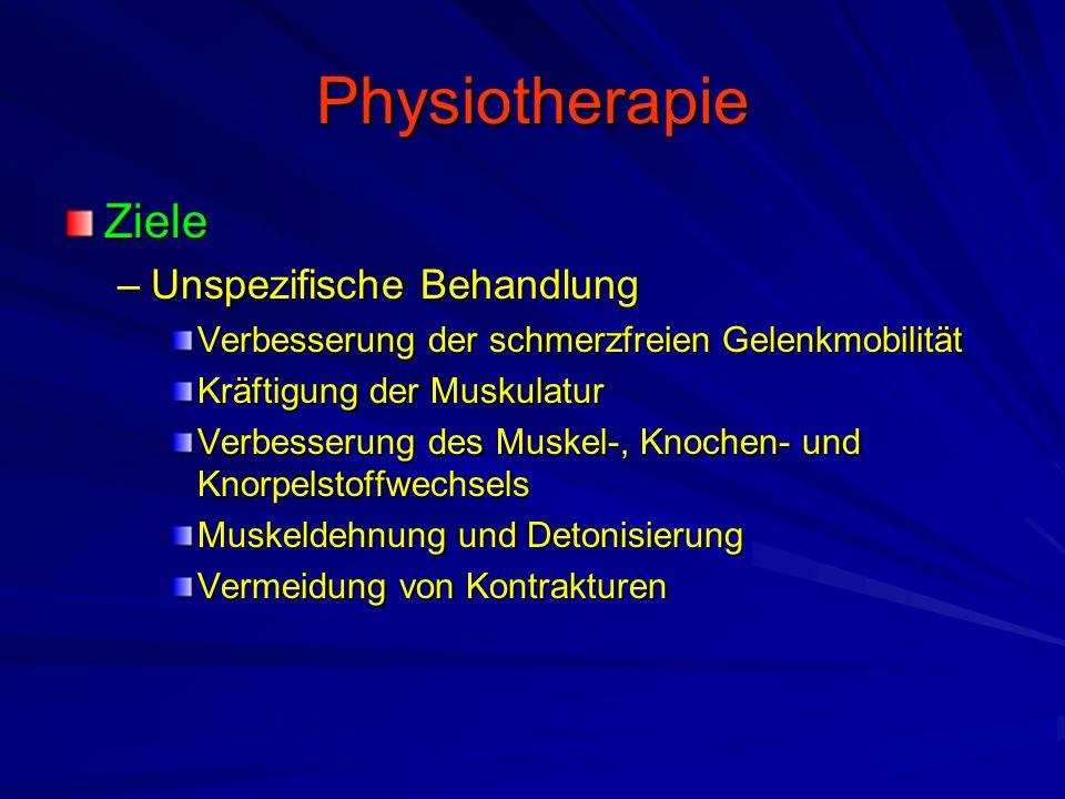 Physiotherapie Ziele –Unspezifische Behandlung Verbesserung der schmerzfreien Gelenkmobilität Kräftigung der Muskulatur Verbesserung des Muskel-, Knochen- und Knorpelstoffwechsels Muskeldehnung und Detonisierung Vermeidung von Kontrakturen
