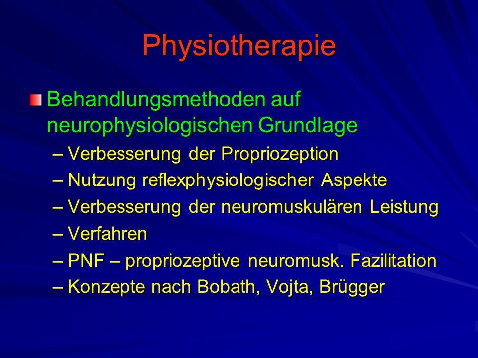 Physiotherapie Behandlungsmethoden auf neurophysiologischen Grundlage –Verbesserung der Propriozeption –Nutzung reflexphysiologischer Aspekte –Verbesserung der neuromuskulären Leistung –Verfahren –PNF – propriozeptive neuromusk.