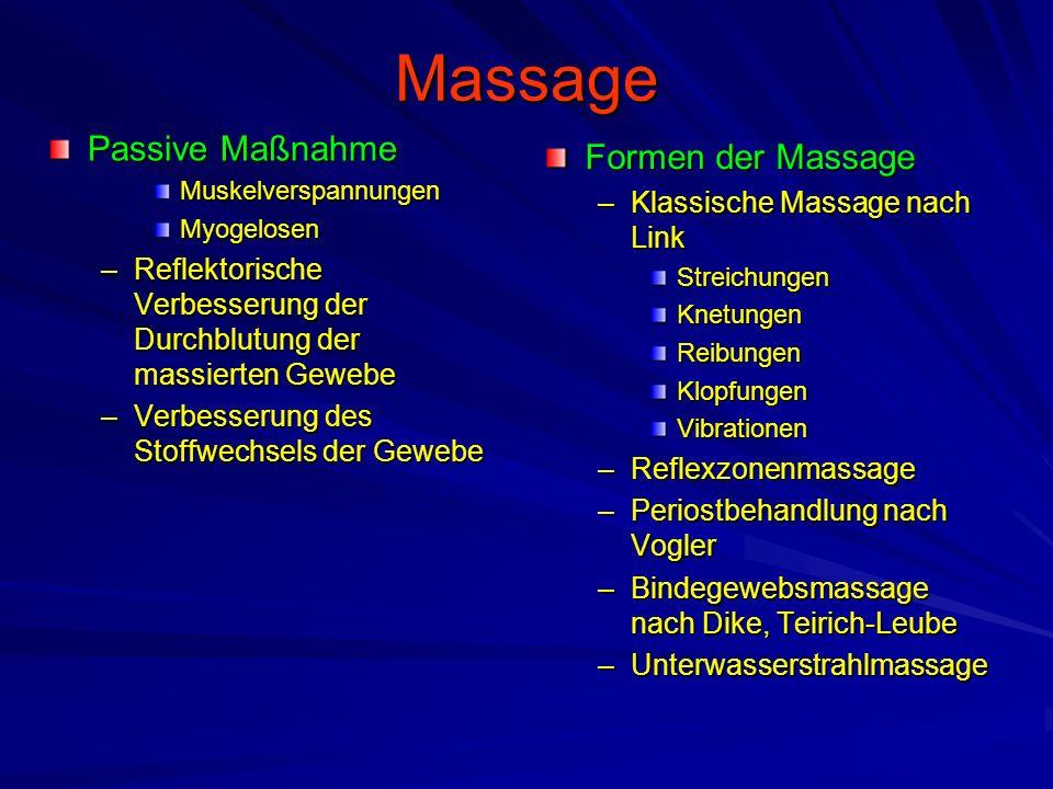 Massage Passive Maßnahme MuskelverspannungenMyogelosen –Reflektorische Verbesserung der Durchblutung der massierten Gewebe –Verbesserung des Stoffwech
