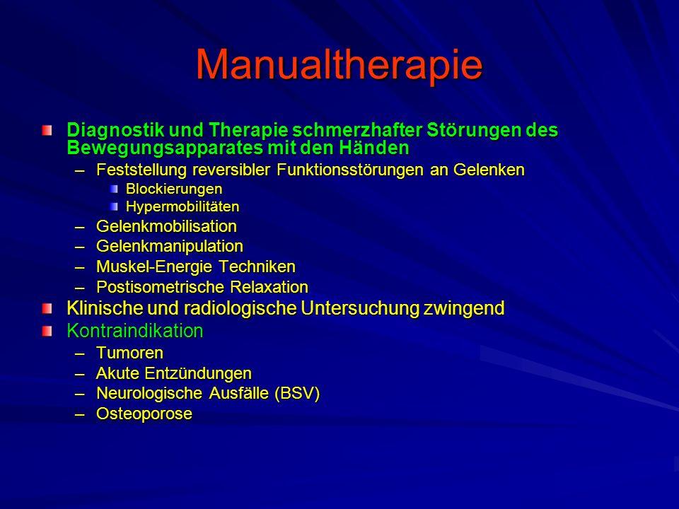 Manualtherapie Diagnostik und Therapie schmerzhafter Störungen des Bewegungsapparates mit den Händen –Feststellung reversibler Funktionsstörungen an G
