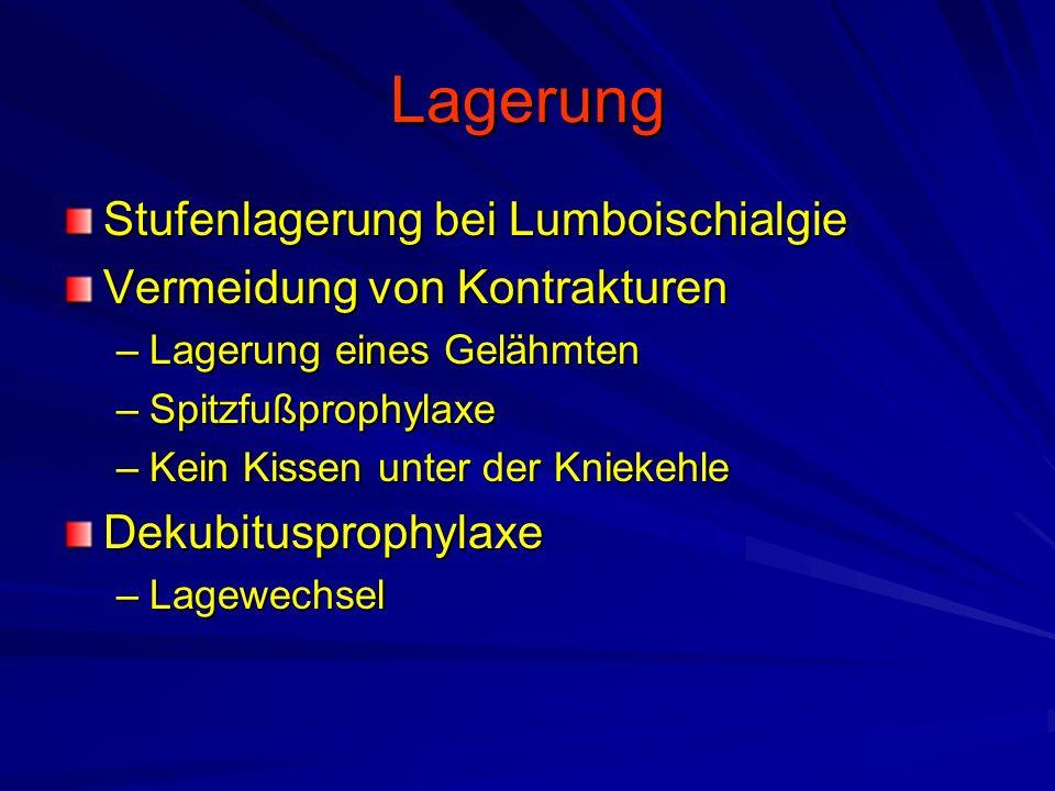 Lagerung Stufenlagerung bei Lumboischialgie Vermeidung von Kontrakturen –Lagerung eines Gelähmten –Spitzfußprophylaxe –Kein Kissen unter der Kniekehle Dekubitusprophylaxe –Lagewechsel
