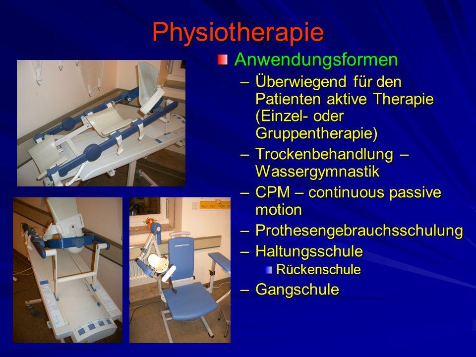 Physiotherapie Anwendungsformen –Überwiegend für den Patienten aktive Therapie (Einzel- oder Gruppentherapie) –Trockenbehandlung – Wassergymnastik –CP