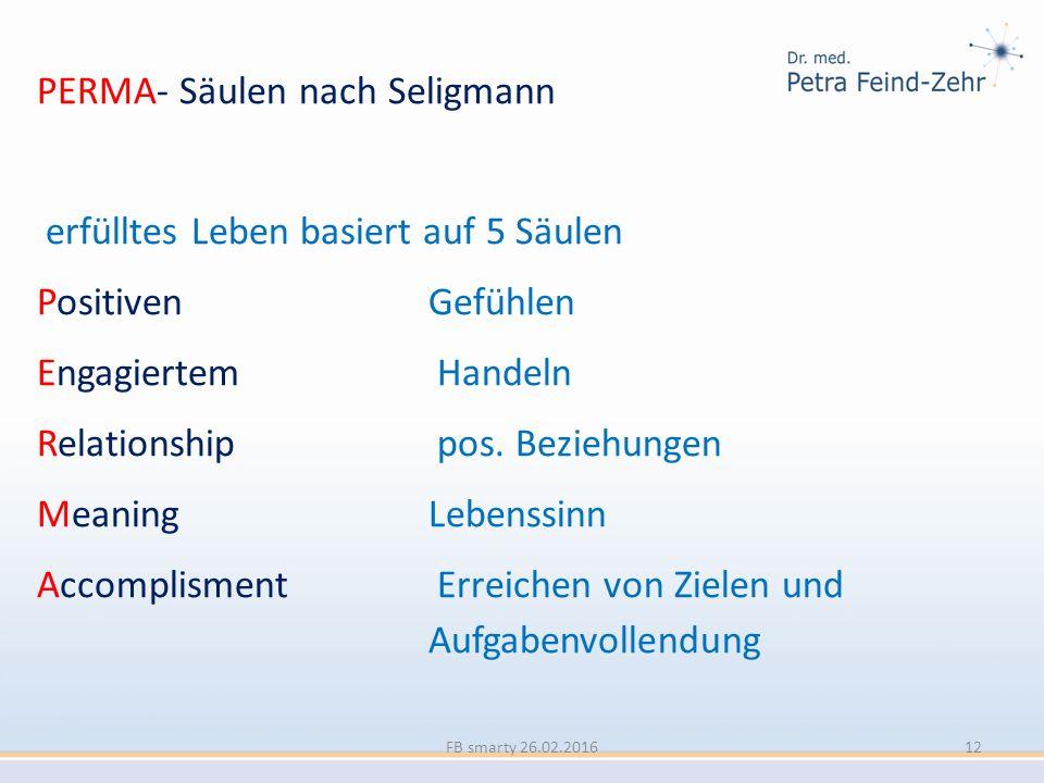 PERMA- Säulen nach Seligmann erfülltes Leben basiert auf 5 Säulen Positiven Gefühlen Engagiertem Handeln Relationship pos. Beziehungen Meaning Lebenss
