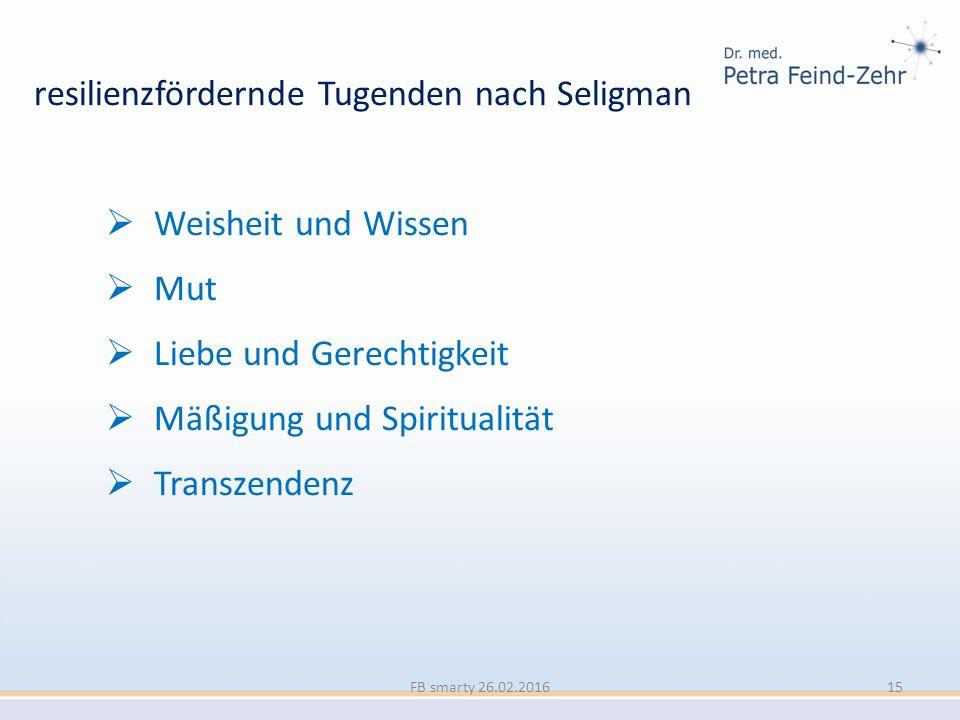 resilienzfördernde Tugenden nach Seligman  Weisheit und Wissen  Mut  Liebe und Gerechtigkeit  Mäßigung und Spiritualität  Transzendenz FB smarty