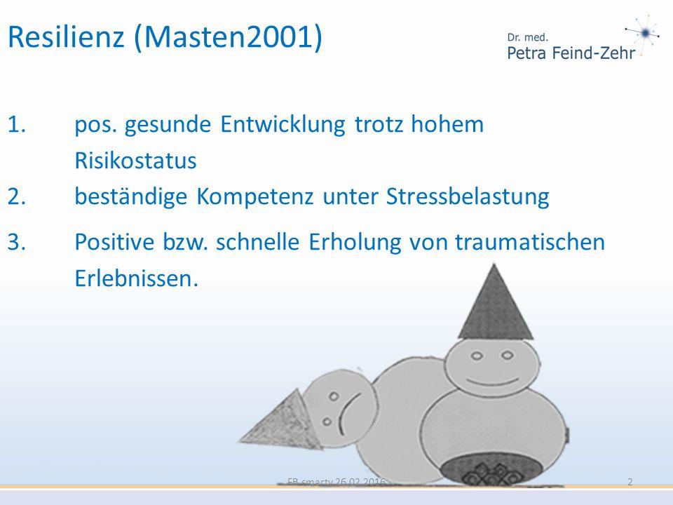 Resilienz (Masten2001) 1. pos. gesunde Entwicklung trotz hohem Risikostatus 2. beständige Kompetenz unter Stressbelastung 3. Positive bzw. schnelle Er