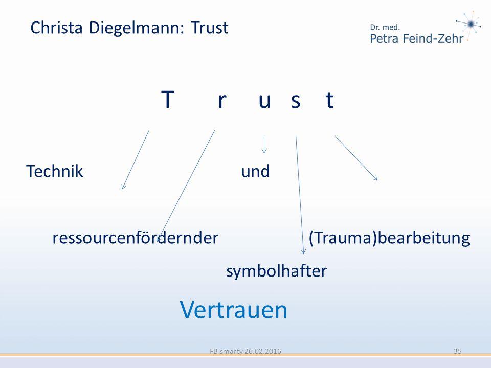 Christa Diegelmann: Trust T r u s t Technik und ressourcenfördernder (Trauma)bearbeitung symbolhafter Vertrauen FB smarty 26.02.201635