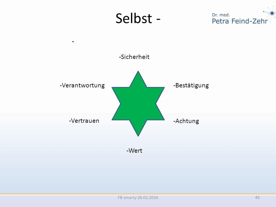 Selbst - - FB smarty 26.02.2016 -Sicherheit -Bestätigung -Achtung -Wert -Vertrauen -Verantwortung 49