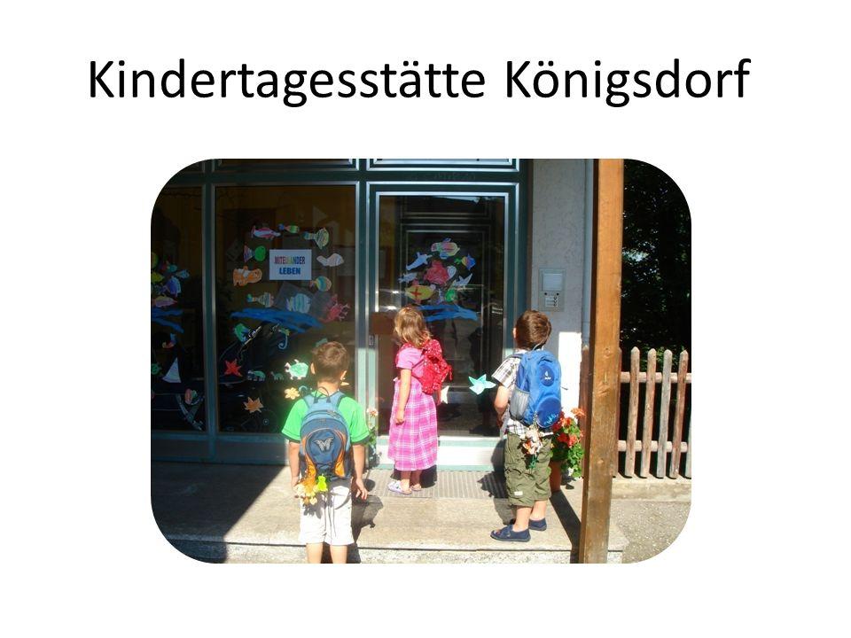 Kindertagesstätte Königsdorf © Burgi Bauer, Konzeption Februar 2013 22 Kinder unter 3 JahrenKinder ab 3 Jahren Bringzeiten Montag bis Freitag 7.15 – 9.00 Uhr7.15 – 8.30 Uhr Pädagogische Kernzeiten 9.00 – 12.00 Uhr8.30 – 12.15 Uhr Abholzeiten Montag bis Donnerstag 12.00 – 12.30 Uhr12.15 – 12.30 Uhr 14.00 – 16.00 Uhr Freitag: 13.15 – 14.00 Uhr 5.