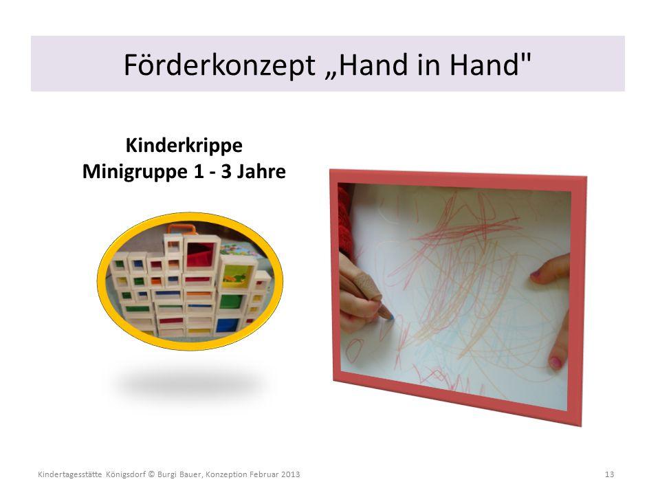 """Kindertagesstätte Königsdorf © Burgi Bauer, Konzeption Februar 2013 13 Kinderkrippe Minigruppe 1 - 3 Jahre Förderkonzept """"Hand in Hand"""