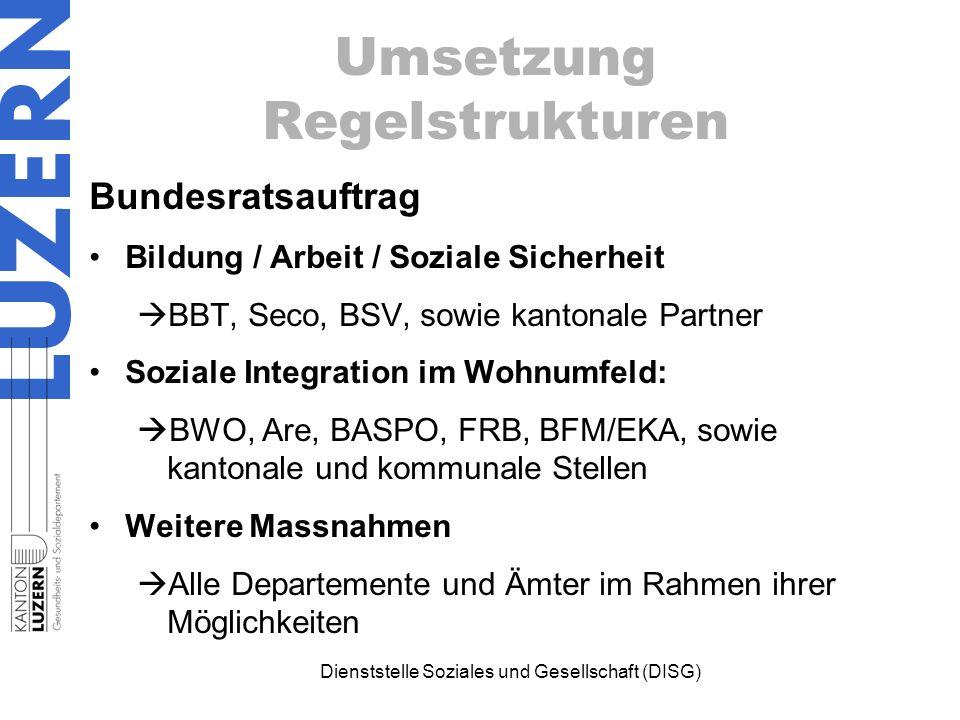 Dienststelle Soziales und Gesellschaft (DISG) Bundesratsauftrag Bildung / Arbeit / Soziale Sicherheit  BBT, Seco, BSV, sowie kantonale Partner Sozial