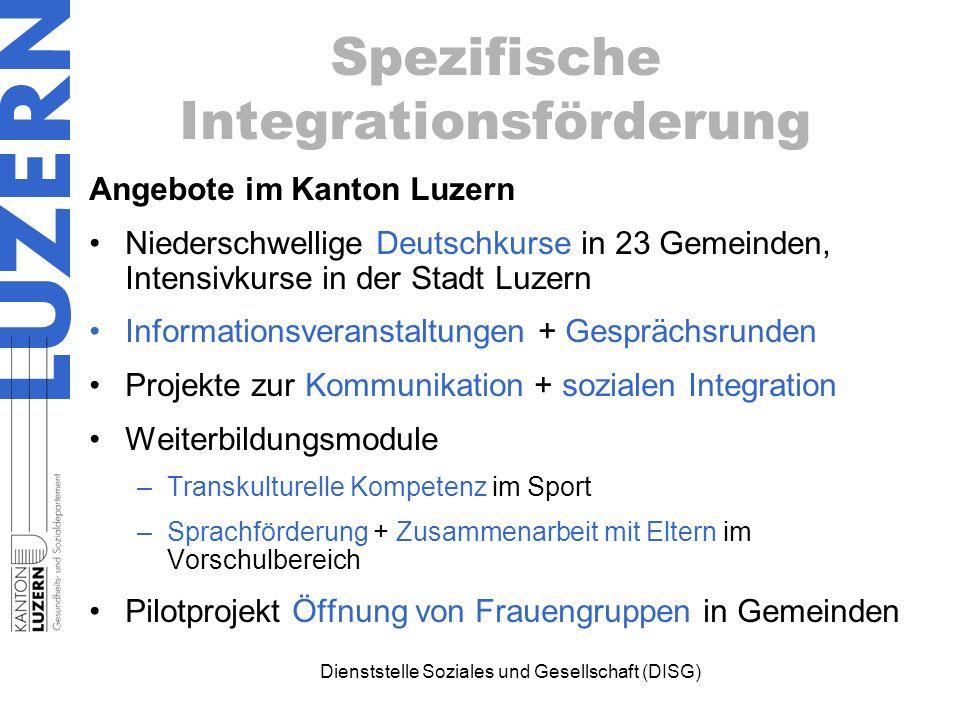 Spezifische Integrationsförderung Angebote im Kanton Luzern Niederschwellige Deutschkurse in 23 Gemeinden, Intensivkurse in der Stadt Luzern Informati