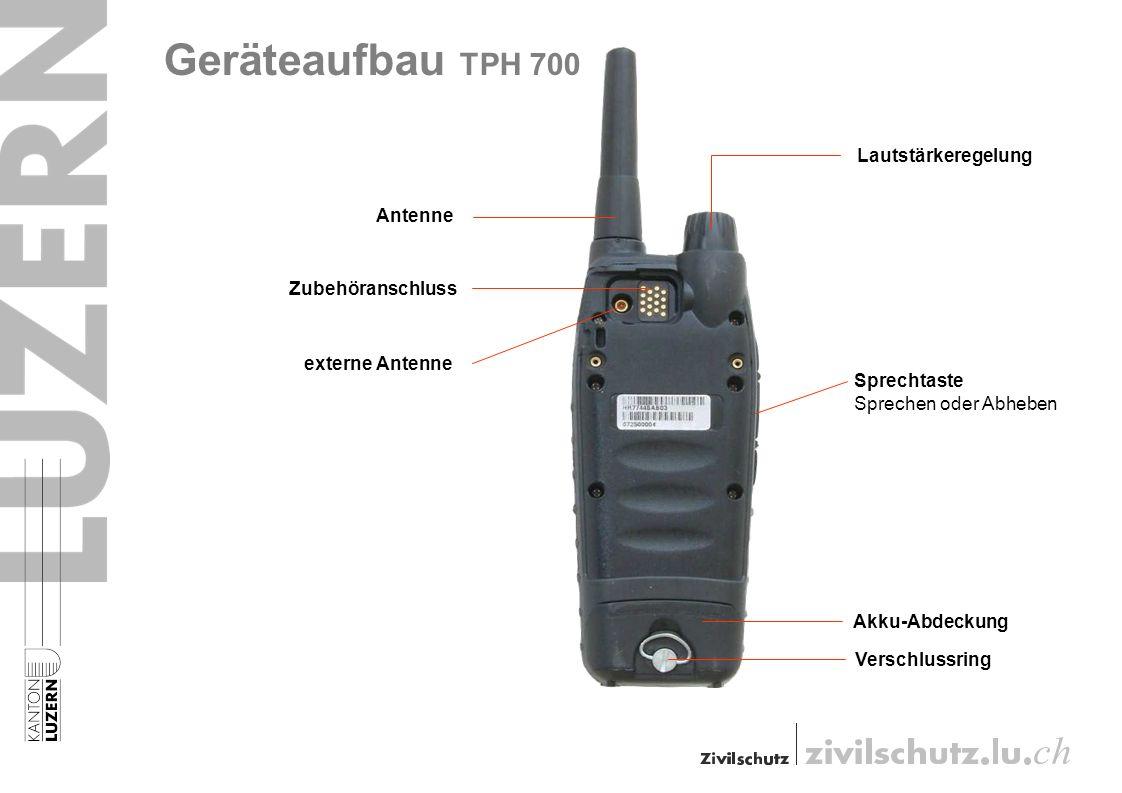 Zubehöranschluss Akku-Abdeckung Lautstärkeregelung Sprechtaste Sprechen oder Abheben externe Antenne Verschlussring Antenne Geräteaufbau TPH 700