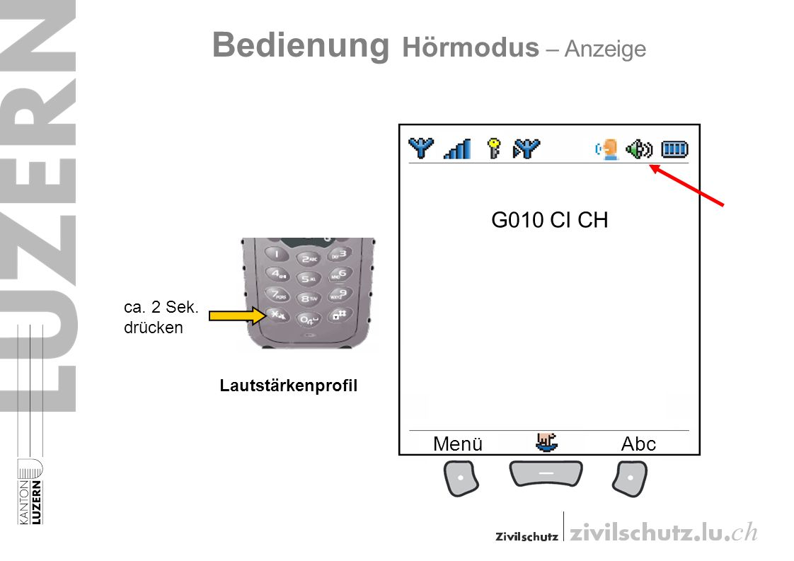 G010 CI CH MenüAbc Bedienung Hörmodus – Anzeige Lautstärkenprofil ca. 2 Sek. drücken