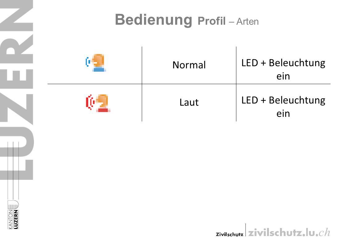 Bedienung Profil – Arten Normal LED + Beleuchtung ein Laut LED + Beleuchtung ein