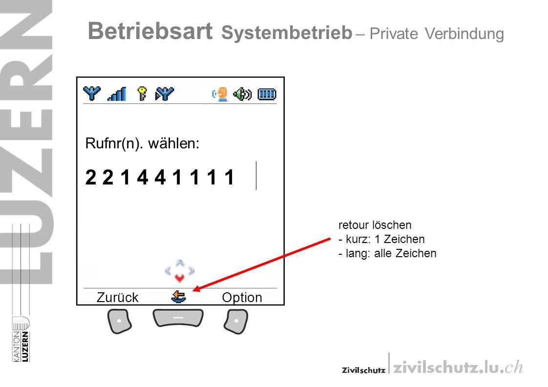 Rufnr(n). wählen: 2 2 1 4 4 1 1 1 1 ZurückOption Betriebsart Systembetrieb – Private Verbindung retour löschen - kurz: 1 Zeichen - lang: alle Zeichen