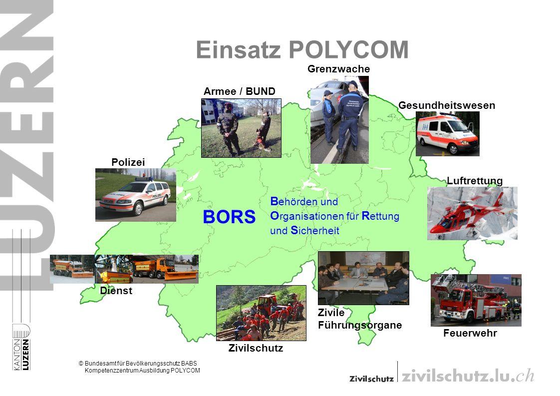Einsatz POLYCOM © Bundesamt für Bevölkerungsschutz BABS © Kompetenzzentrum Ausbildung POLYCOM Grenzwache Polizei Zivilschutz Feuerwehr Armee / BUND Ge