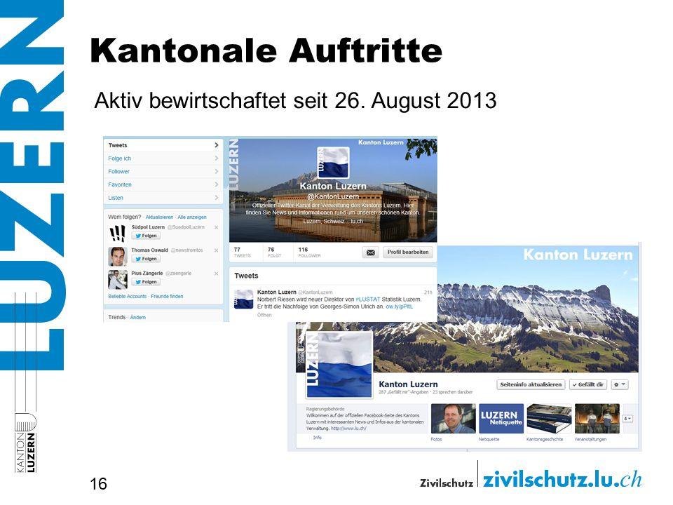 Kantonale Auftritte Aktiv bewirtschaftet seit 26. August 2013 16