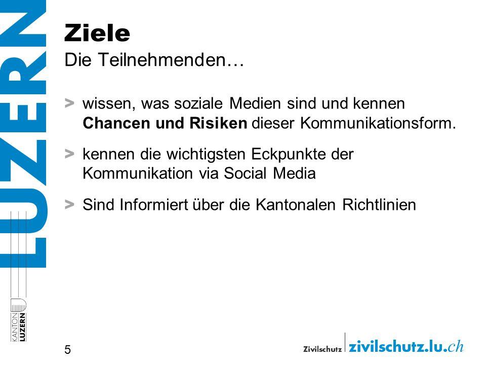 Ziele Die Teilnehmenden… > wissen, was soziale Medien sind und kennen Chancen und Risiken dieser Kommunikationsform.