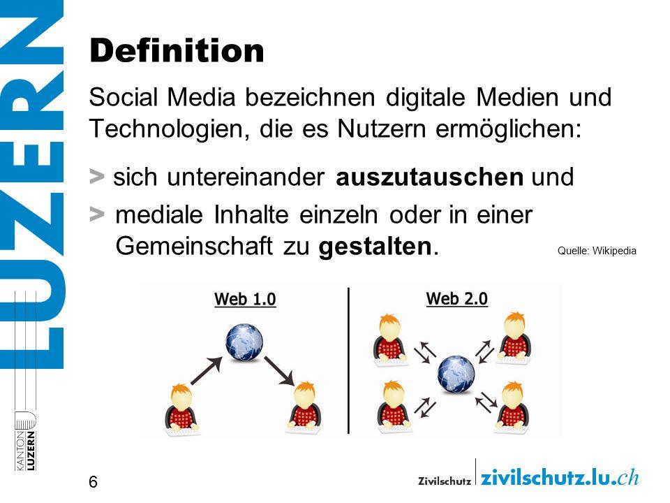 Definition Social Media bezeichnen digitale Medien und Technologien, die es Nutzern ermöglichen: > sich untereinander auszutauschen und > mediale Inhalte einzeln oder in einer Gemeinschaft zu gestalten.