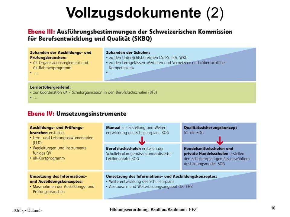 10 Vollzugsdokumente (2), Bildungsverordnung Kauffrau/Kaufmann EFZ