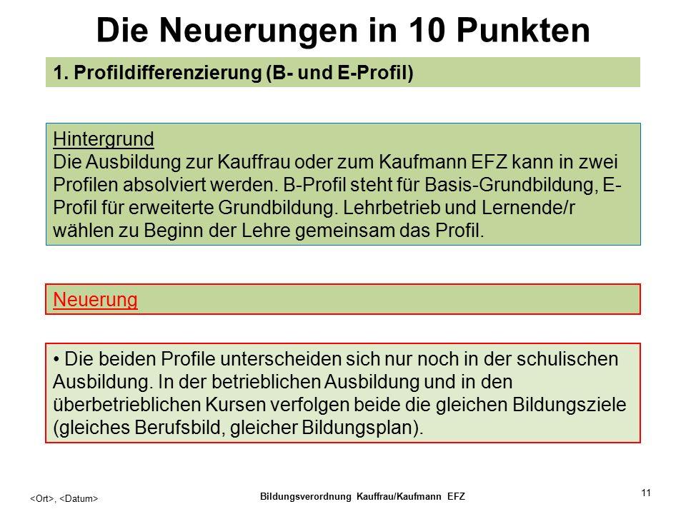11 Die Neuerungen in 10 Punkten, Bildungsverordnung Kauffrau/Kaufmann EFZ 1.