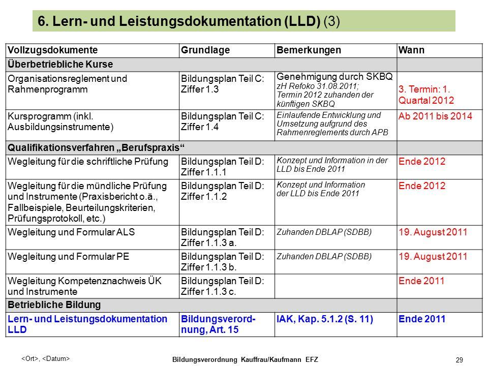 , Bildungsverordnung Kauffrau/Kaufmann EFZ 29 6.