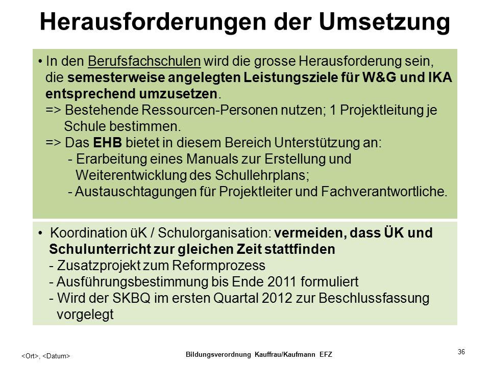 36 Herausforderungen der Umsetzung, Bildungsverordnung Kauffrau/Kaufmann EFZ In den Berufsfachschulen wird die grosse Herausforderung sein, die semesterweise angelegten Leistungsziele für W&G und IKA entsprechend umzusetzen.