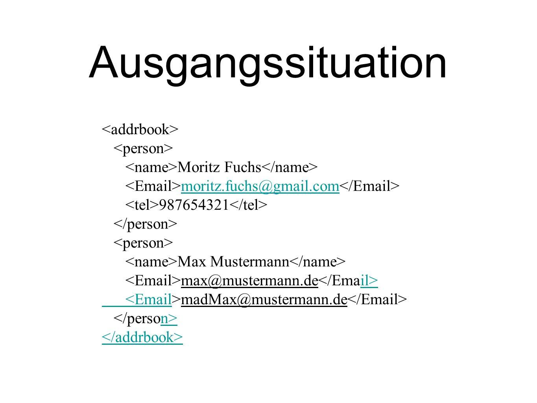 Ausgangssituation Moritz Fuchs moritz.fuchs@gmail.com 987654321 Max Mustermann max@mustermann.de il> <Email madMax@mustermann.de n>