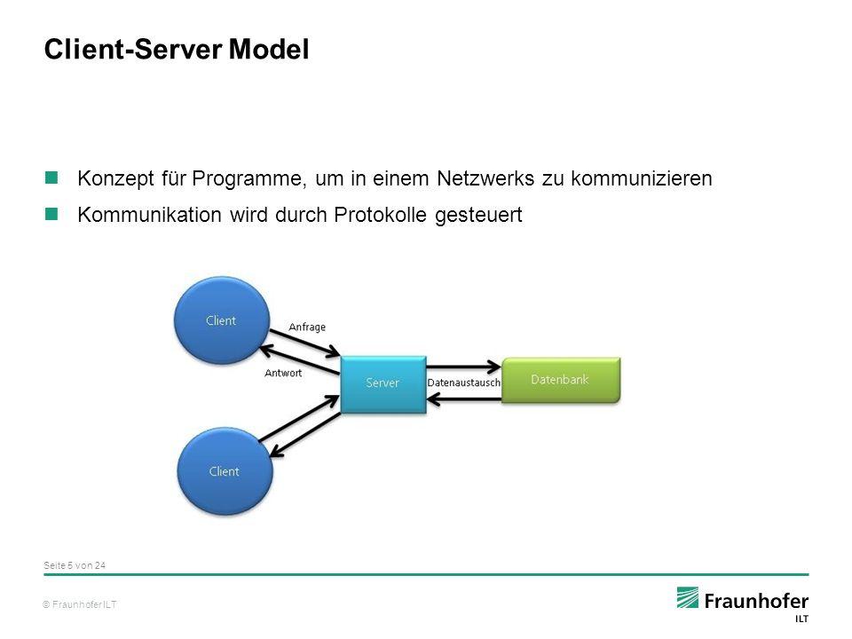 © Fraunhofer ILT Client-Server Model Konzept für Programme, um in einem Netzwerks zu kommunizieren Kommunikation wird durch Protokolle gesteuert Seite 5 von 24