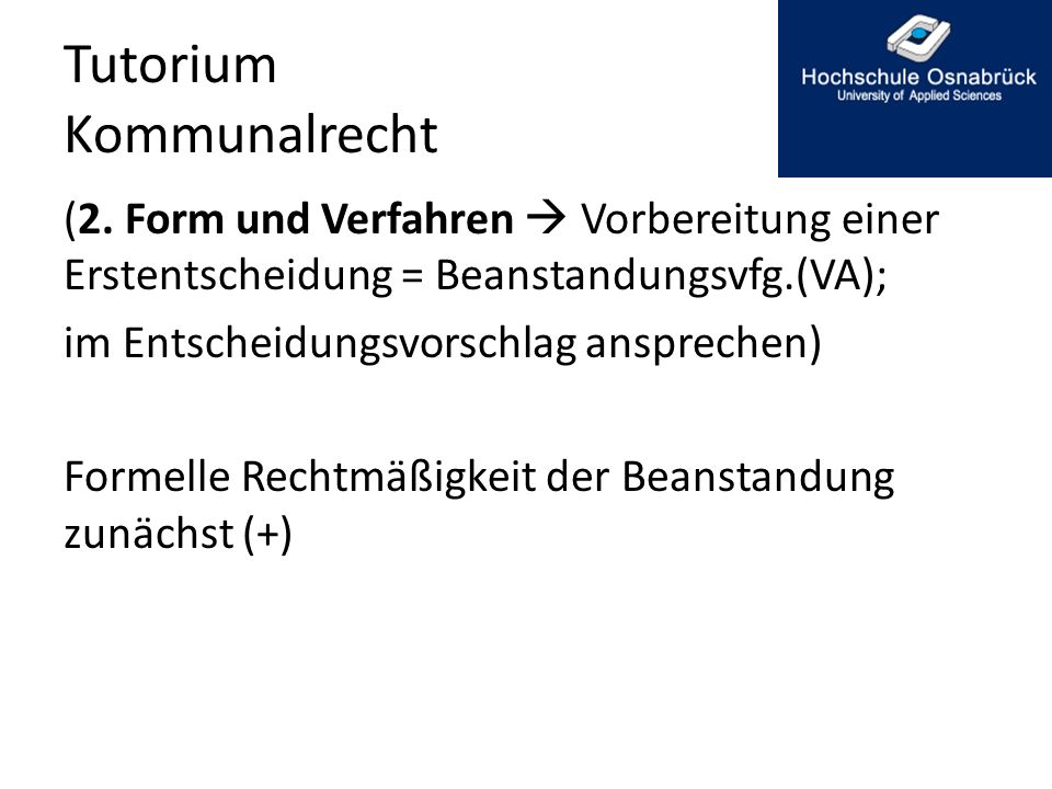 Tutorium Kommunalrecht (2.