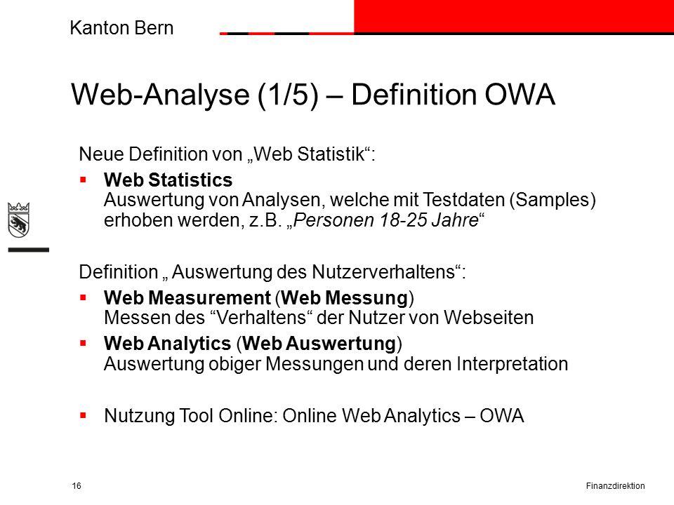"""Kanton Bern Web-Analyse (1/5) – Definition OWA Finanzdirektion16 Neue Definition von """"Web Statistik :  Web Statistics Auswertung von Analysen, welche mit Testdaten (Samples) erhoben werden, z.B."""