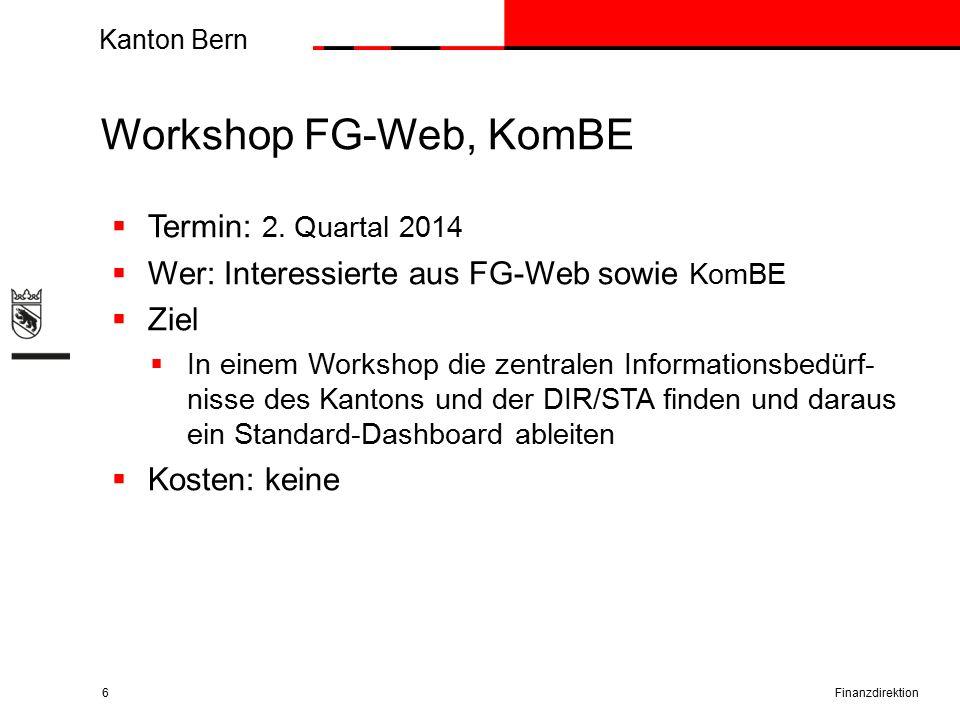 Kanton Bern Workshop FG-Web, KomBE Finanzdirektion6  Termin: 2.