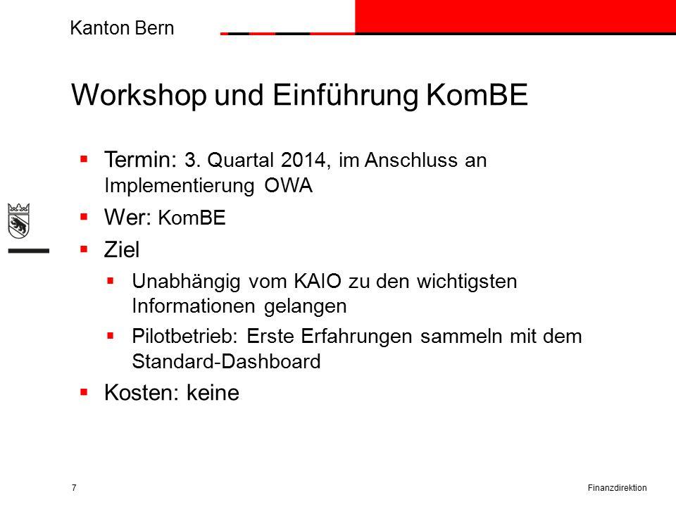 Kanton Bern Workshop und Einführung KomBE Finanzdirektion7  Termin: 3.