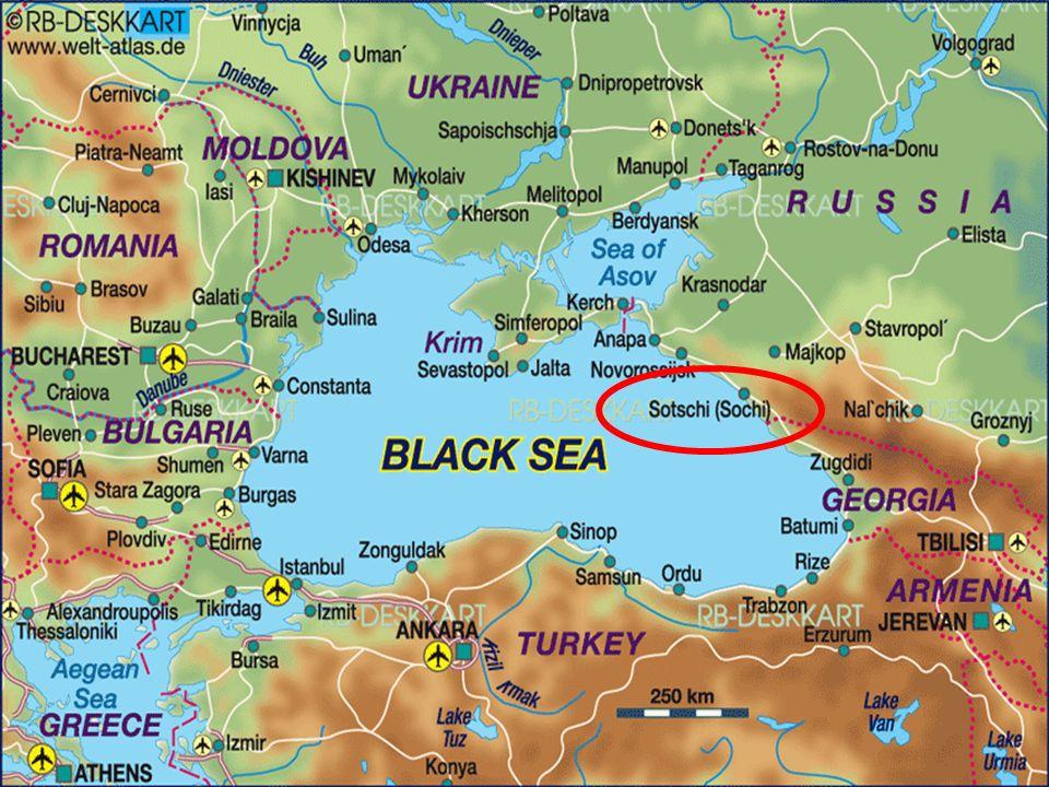 Russland hat die Olympischen Winterspiele auf künstlichen Inseln in der Nähe gebaut.
