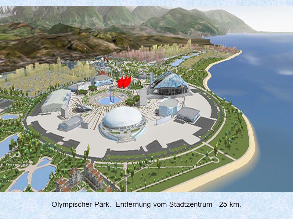Der Olympiapark - die Puppe. Entfernung vom Stadtzentrum ist 25 km.