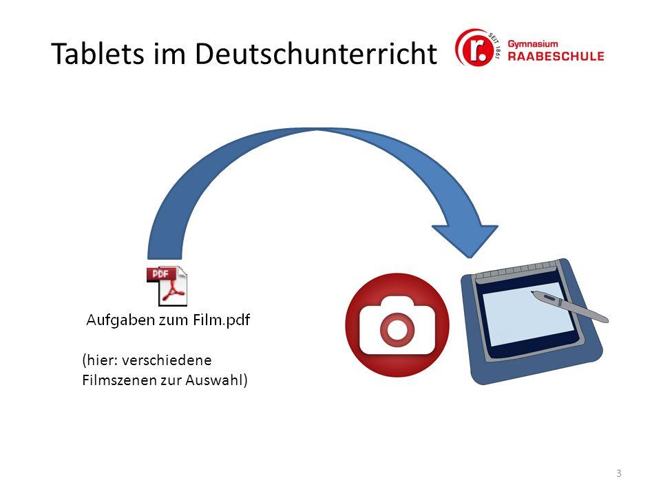 Tablets im Deutschunterricht 3 (hier: verschiedene Filmszenen zur Auswahl)